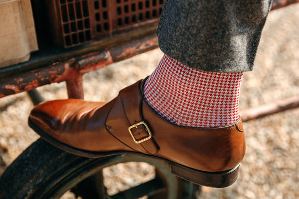 Cherry red & Beige - Houndstooth Cotton lisle