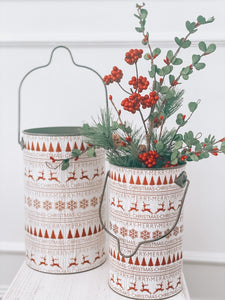 Traditional Nordic Patterned Metal Bucket Two Sizes