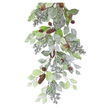 Load image into Gallery viewer, 5' Glitter Leaf Berry Garland