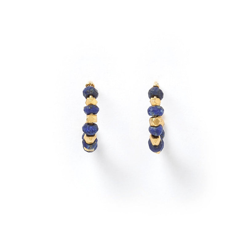 Aztec Gold and Lapis Lazuli Hoop Earrings