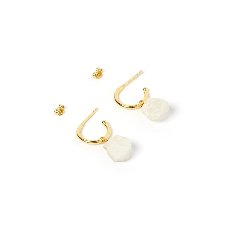 Carmen Gold and Moonstone Hoop Earrings