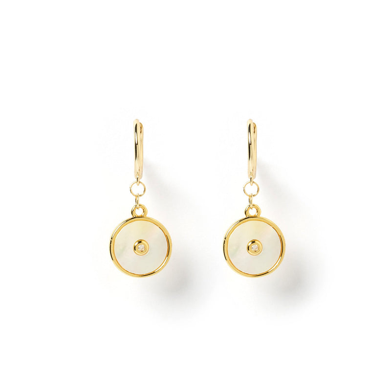 Cosmos Gold and Mother Of Pearl Earrings