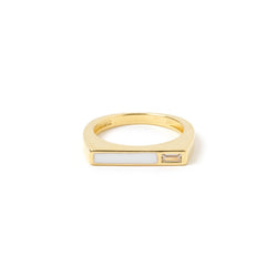 Cruz Gold and Enamel Stone Ring - White