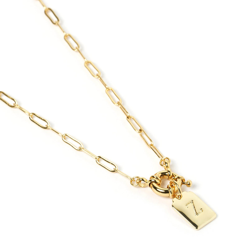 Letter Gold Tag Necklace