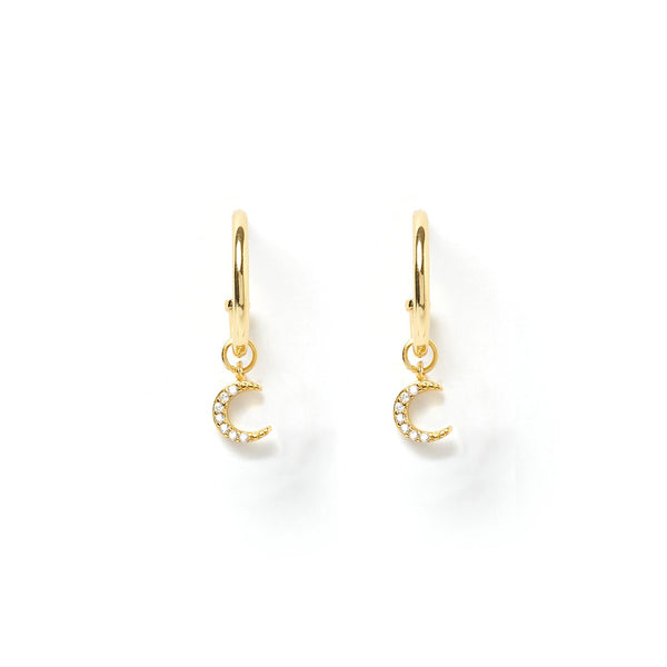 Moonstruck Gold Charm Hoop Earring
