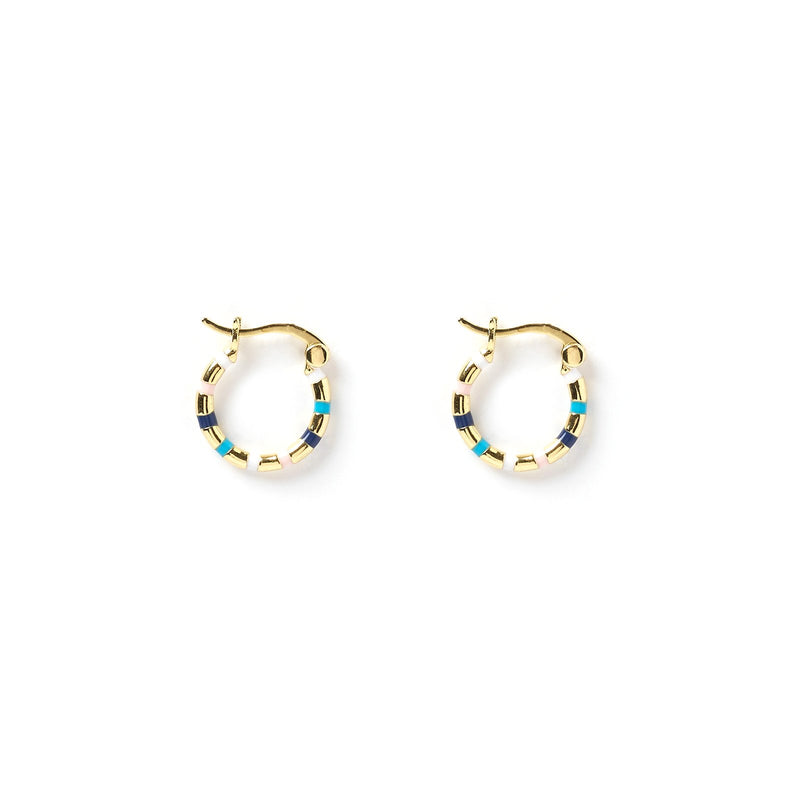 Mini Papaya Gold & Enamel Hoop Earrings - Multi