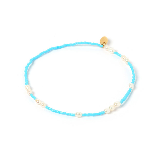 Poppy Pearl & Glass Beaded Anklet - Turquoise