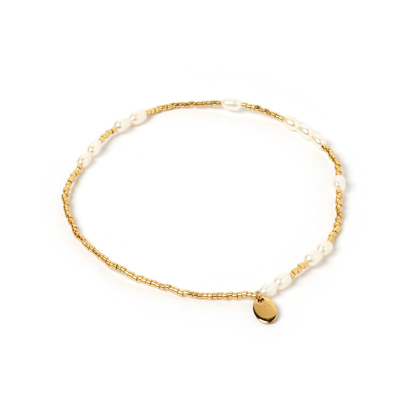 Poppy Pearl & Glass Beaded Anklet - Gold