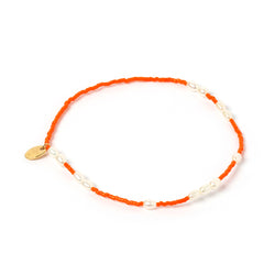 Poppy Pearl & Glass Beaded Anklet - Orange