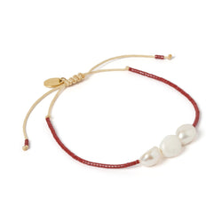 Serena Gold and Pearl Bracelet - Maroon