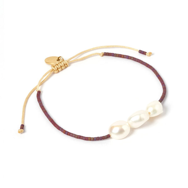 Serena Gold and Pearl Bracelet - Purple
