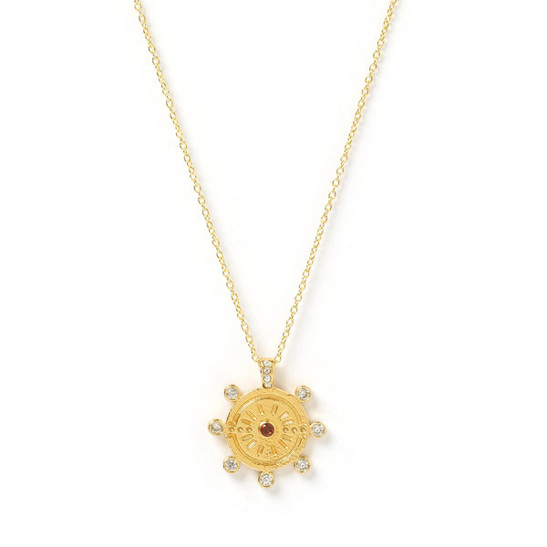 Sunburst Gold and Stone Pendant Necklace