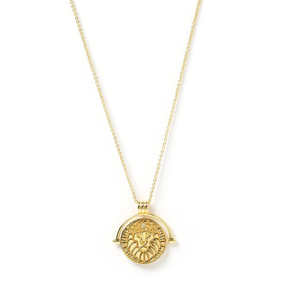 Leo Zodiac Gold Spinner Necklace