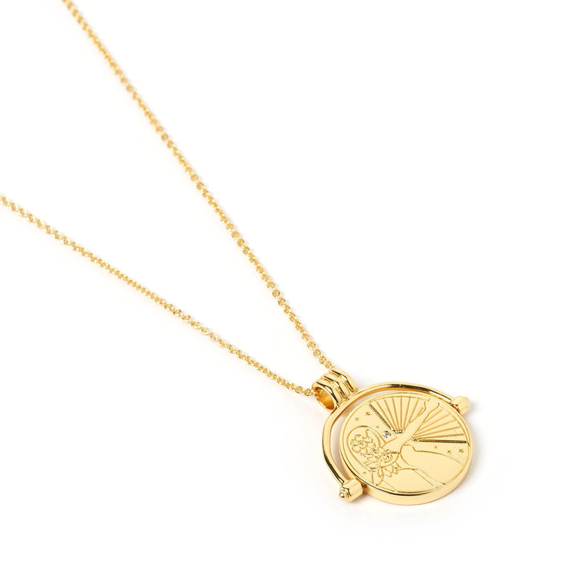 Sagittarius Zodiac Gold Spinner Necklace