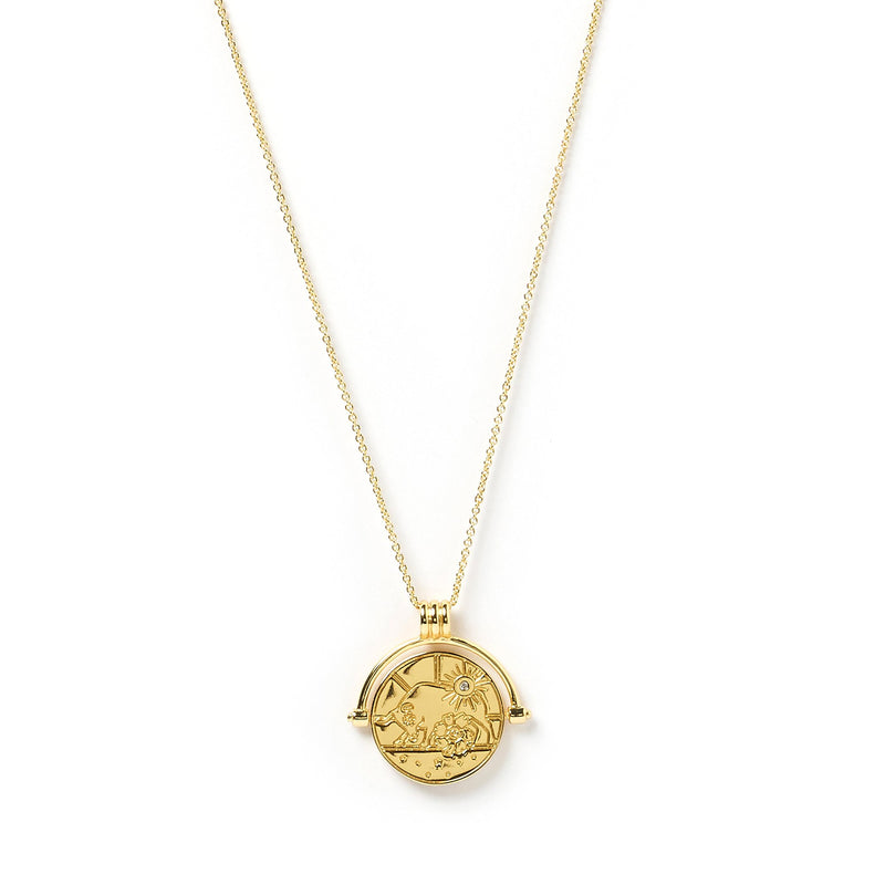 Taurus Zodiac Gold Spinner Necklace