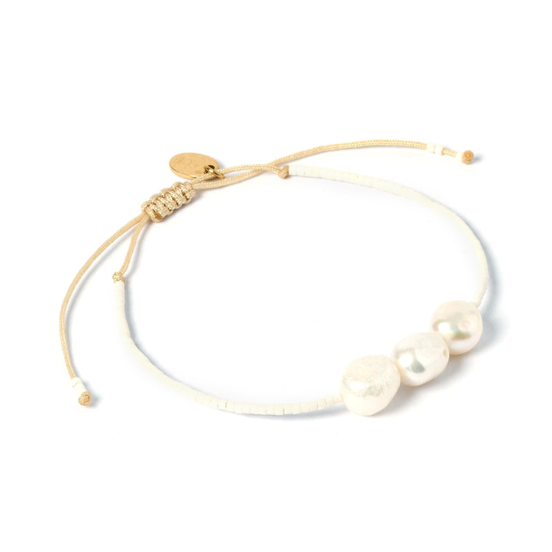 Serena Gold and Pearl Bracelet - White