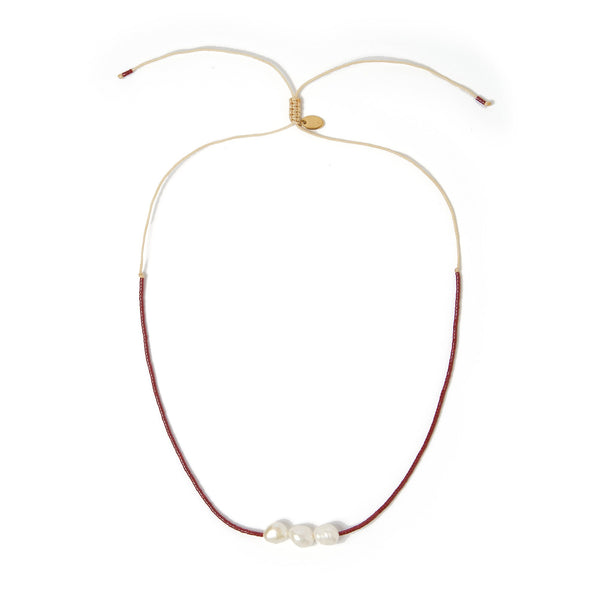 Sage Gold and Pearl Choker - Maroon