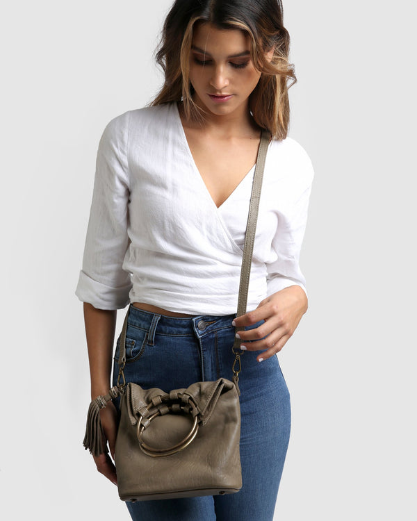 Society Leather Slouch Bag - Taupe