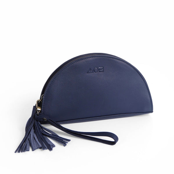 Capri Half Moon Leather Clutch - Navy