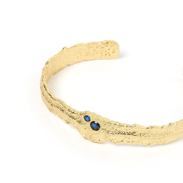 Bacio Gold and Blue Cuff Bracelet