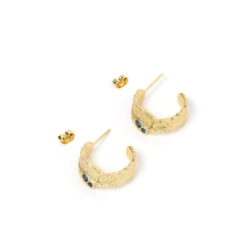Saki Gold and Blue Hoop Earrings