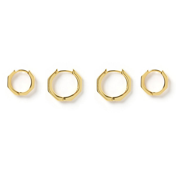 Billy Hexagon Gold Earring Stack