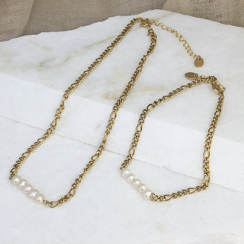 Cloudia Gold and Pearl Anklet