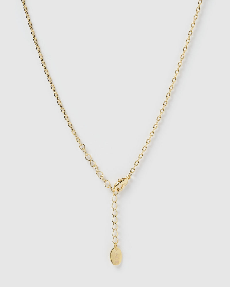 Perez Gold & Enamel Pendent Necklace - Navy