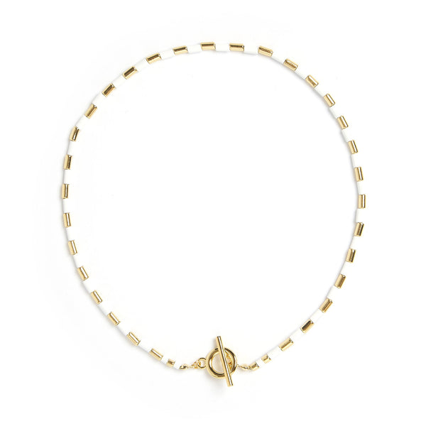 Talya Gold and White Necklace