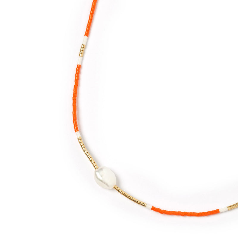 Taylor Pearl & Glass Beaded Necklace - Orange