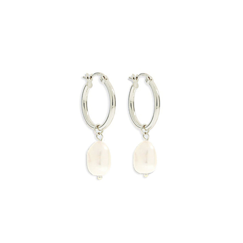 Augusta Silver Hoop & Freshwater Pearl Earrings - Small