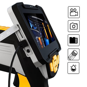 Waterproof Industrial Endoscope Camera side view with 5 function icon.