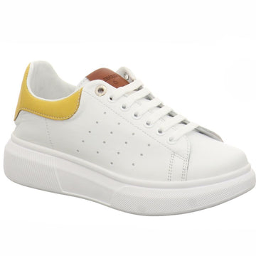 Carmela - White/Yellow Leather Platform Trainers
