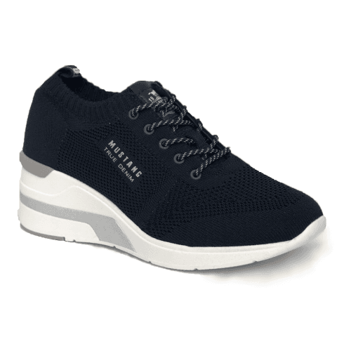 MUSTANG - NAVY WEDGE TRAINERS