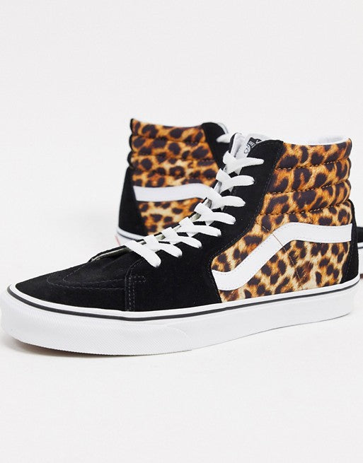 Vans - SK8-Hi - Women's Hi Top Trainers - Black / Leopard