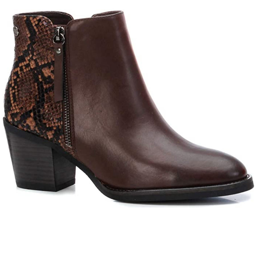 XTI - 44627 - Women's Snake Print Ankle Boots - Brown
