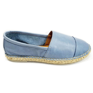 BUENO - BLUE LEATHER ESPADRILLES WITH ROPE SOLE