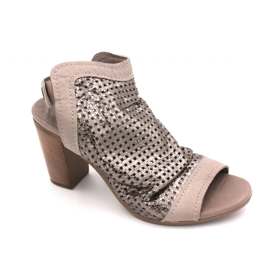 Jocee & Gee-Bouvardia-Old Gun- Peep Toe Leather Sandals