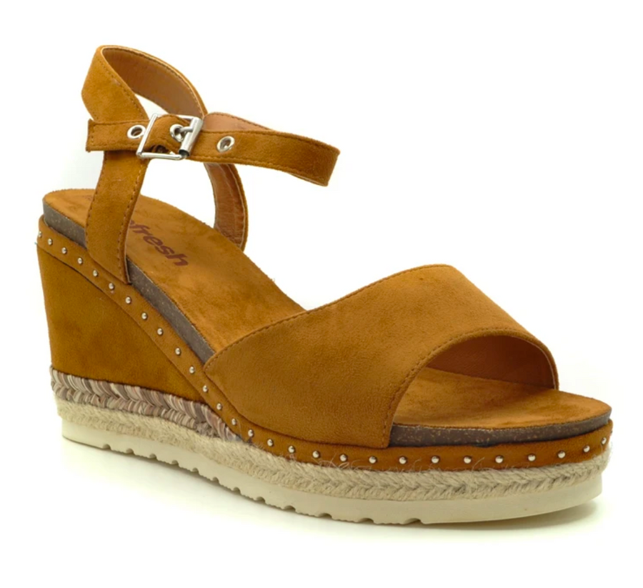 Refresh - 72226 Camel brown wedge Sandals