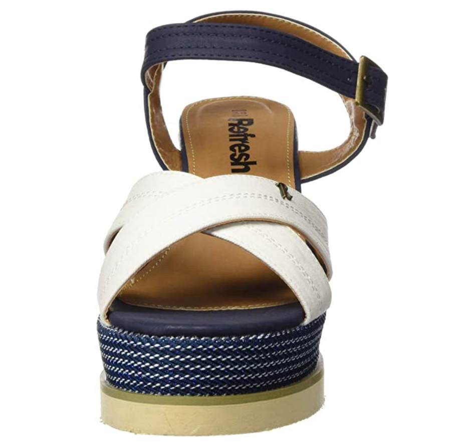 REFRESH - 69595 - PLATFORM WEDGE SANDALS - WHITE/NAVY