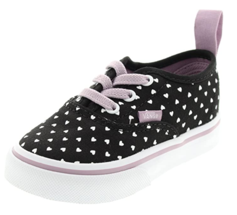 VANS - KIDS - AUTHENTIC - BLACK/SEAFOG - HEARTS - ELASTIC LACES