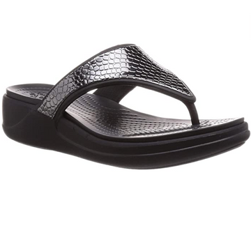 Crocs - Monterery Metallic Wedge Flip Flop - Black/Metallic