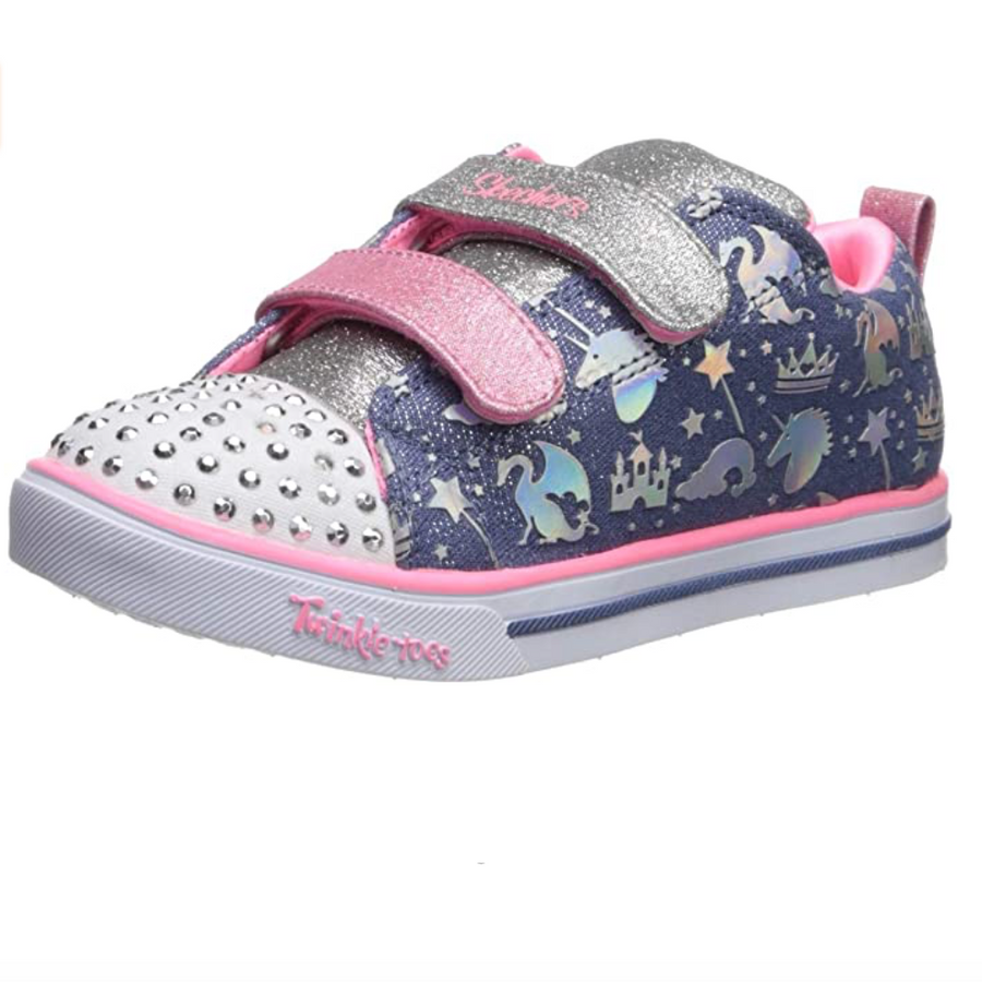 Skechers - Lite Sparkleland Trainers - Blue / Pink / Silver