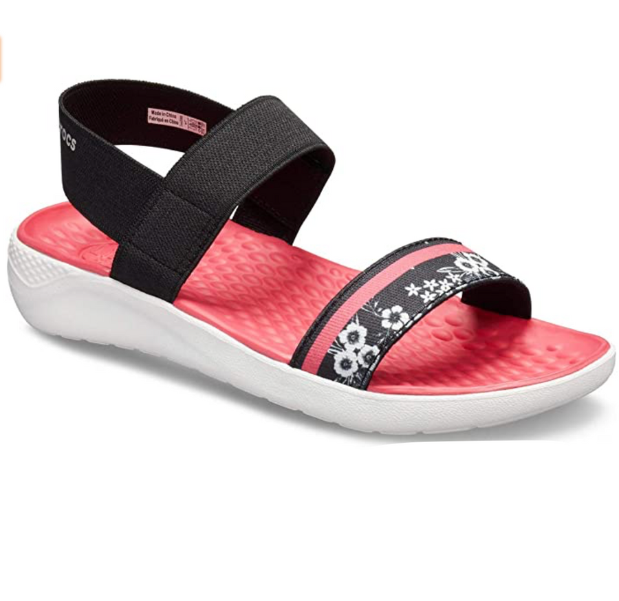 Crocs - Women's Literide Hyper Floral Sandals - Black / White