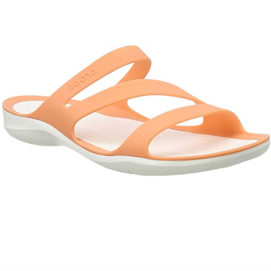 Crocs - Women's Swiftwater Sandal - Orange Grapefruit / White