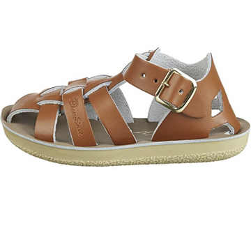 Salt Water Sandal - Kids Leather Shark - Tan