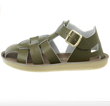 Salt Water Sandals - Kids Leather Shark - Olive