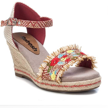 Refresh - 72246 - Rope Sole Wedge Sandal - Red / Floral