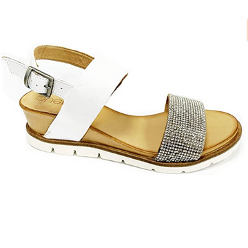 Bueno - White / Silver - Emebellised Soft Leather Sandal