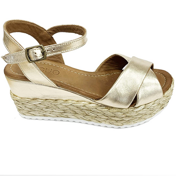 Bueno - Gold Leather Platform Wedge Sandal With Rope Sole